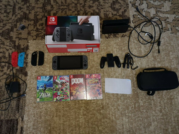 Nintendo Switch Gray in box plus 5 games and accessories
